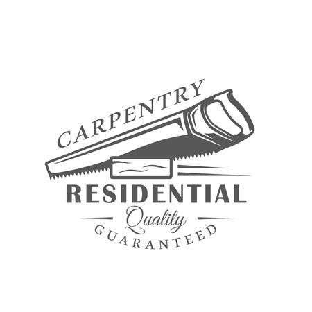Handsaw. Modern carpentry label isolated on white background. Vector illustration Illustration