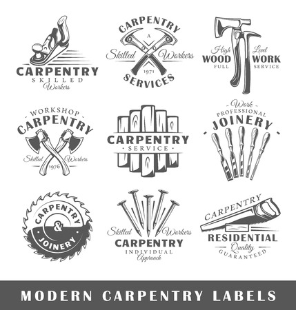 Satz moderne Zimmerei-Etiketten. Poster, Briefmarken, Banner und Designelemente. Vektor-Illustration Vektorgrafik