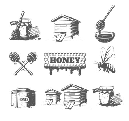 Set of elements of the honey isolated on white background. Symbols for honey design labels and emblems. Vector illustration