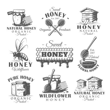 Set of vintage honey labels. Templates for the design of logos and emblems. Collection of honey symbols: bee, beehive, honeycomb. Vector illustration