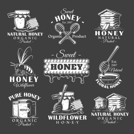 Set of vintage honey labels. Templates for the design and emblems. Collection of honey symbols: bee, beehive, honeycomb. Vector illustration Иллюстрация