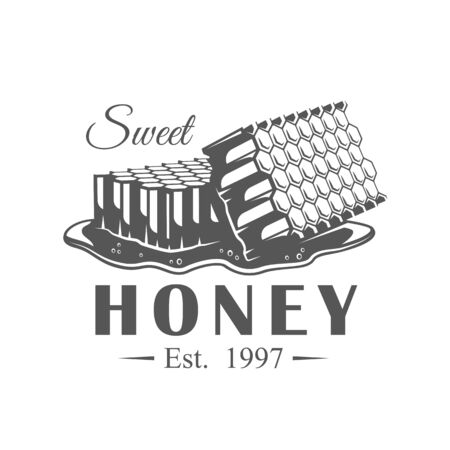 Vintage honey label isolated on white background. Vector illustration