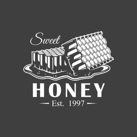 Vintage honey label isolated on black background. Vector illustration