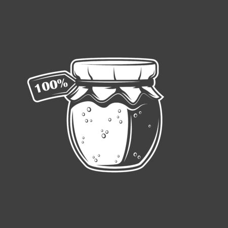 Jar of honey isolated on black background. Vector illustration