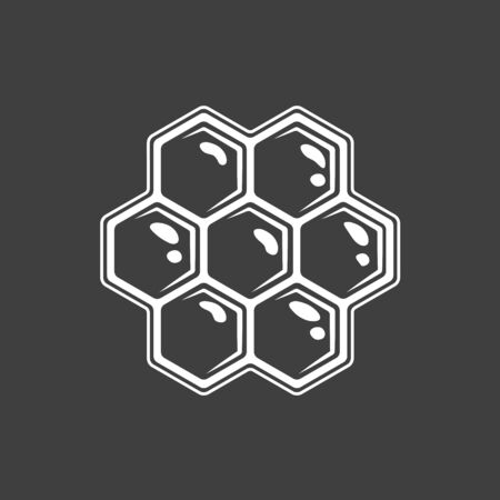 Honeycomb isolated on black background. Vector illustration