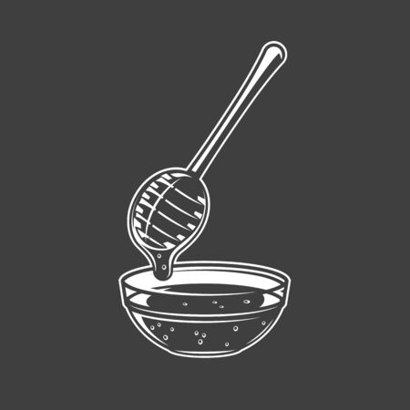 Honey spoon isolated on black background. Vector illustration Иллюстрация
