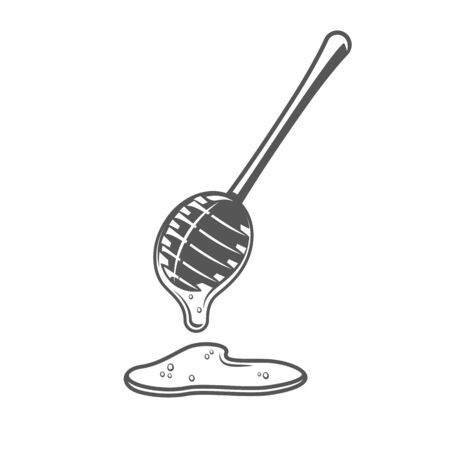 Honey spoon isolated on white background. Vector illustration
