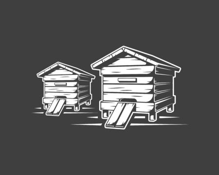 Beehives isolated on black background. Vector illustration