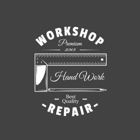 Carpentry label isolated on black background. Vector illustration