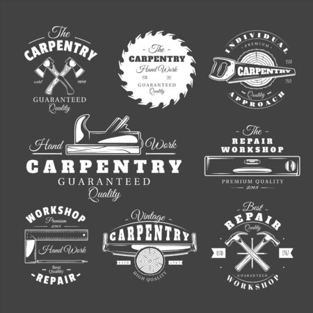 Set of vintage carpentry labels. Templates for the design of logos and emblems. Collection of carpentry symbols: saw, hammer, axe. Vector illustration