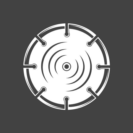 Saw blade isolated on black background. Silhouette saw blade vector symbol. Work tool for construction design