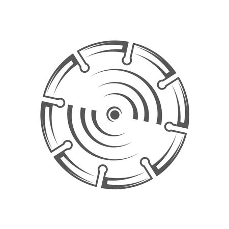 Saw blade isolated on white background. Silhouette saw blade vector symbol. Work tool for construction design Ilustrace