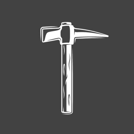 Vintage hammer isolated on black background. Silhouette of hammer vector symbol. Work tool for construction design Ilustrace