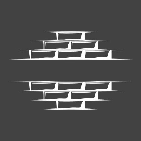 Vintage brick wall isolated on black background. Silhouette brick wall vector symbol. Vector illustration