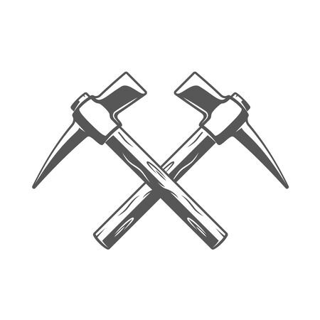 Vintage hammers located crosswise isolated on white background. Silhouette of hammers vector symbols. Work tools for building design Ilustrace