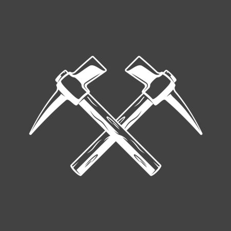 Vintage hammers located crosswise isolated on black background. Silhouette of hammers vector symbols. Work tools for building design Ilustrace