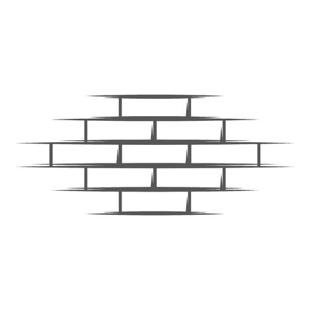Vintage brick wall isolated on white background. Silhouette brick wall vector symbol. Vector illustration
