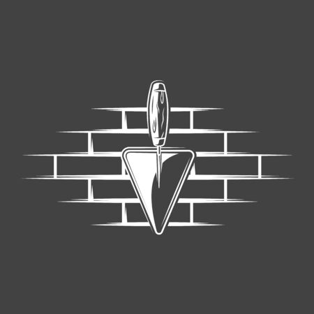 Spatulas located on a brick wall isolated on black background. Silhouette of spatulas and brick wall vector symbols. Work tools for build design Ilustrace