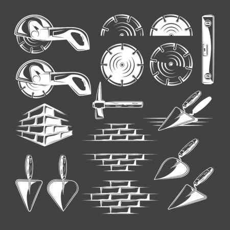 Set of vintage work tools isolated on black background. Collection of icons for construction design. Vector illustration