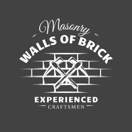 Vintage construction label. Hammers located on a brick wall isolated on black background. Vector illustration