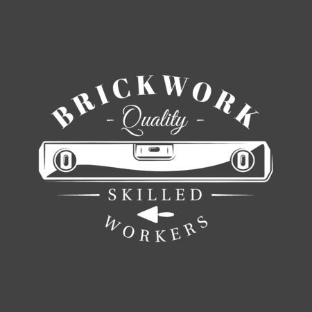 Vintage construction label. Level, work tool isolated on black background. Vector illustration