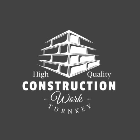 Vintage construction label. Brick wall isolated on black background. Vector illustration