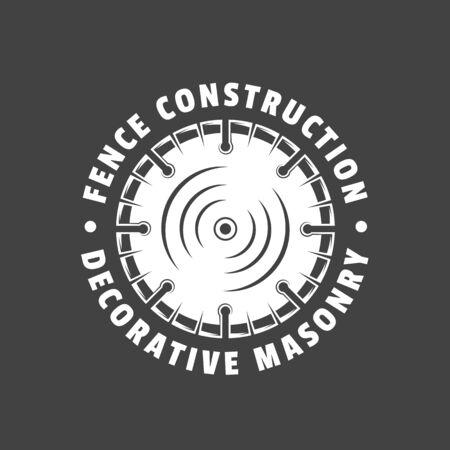 Vintage construction label. Saw blade isolated on black background. Vector illustration Ilustrace