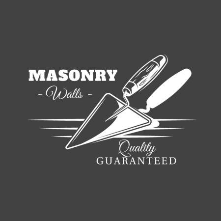 Vintage construction label. Putty knife isolated on black background. Vector illustration Ilustrace