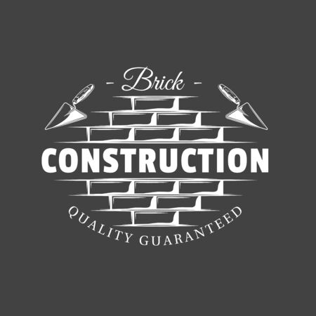 Vintage construction label. Spatulas located on a brick wall isolated on black background. Vector illustration Ilustrace