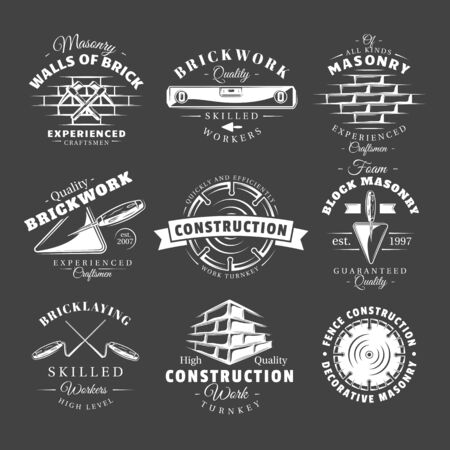 Set of vintage construction labels isolated on black background. Posters, stamps, banners and design elements. Vector illustration