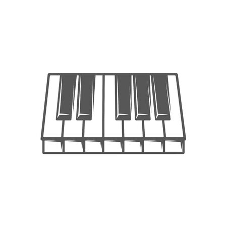Piano keyboard isolated on white background. Design element for music logos, labels, emblems. Vector illustration Imagens - 138462642