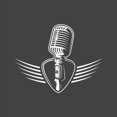 Microphone with wings isolated on a black background. Design element for music logos, labels, emblems. Vector illustration Foto de archivo - 138462639