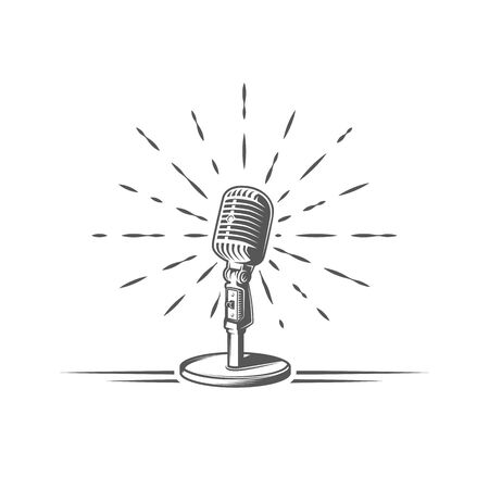 Microphone is depicted on a background of firework isolated on a white background. Design element for music logos, labels, emblems. Vector illustration Foto de archivo - 138462645