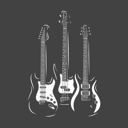 Three guitars isolated on a black background. Design element for music logos, labels, emblems. Vector illustration Foto de archivo - 138462644