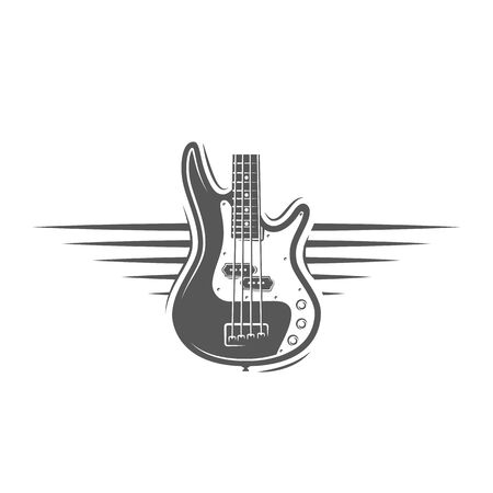 Part of the guitar isolated on a white background. Design element for music logos, labels, emblems. Vector illustration Foto de archivo - 138462652