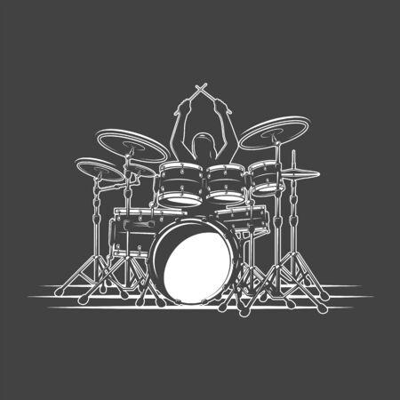 Drummer plays percussion instruments. Isolated on a black background. Design element for music logos, labels, emblems. Vector illustration Ilustração