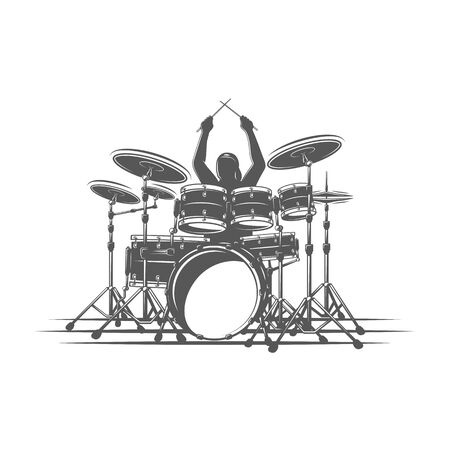Drummer plays percussion instruments. Isolated on a white background. Design element for music logos, labels, emblems. Vector illustration