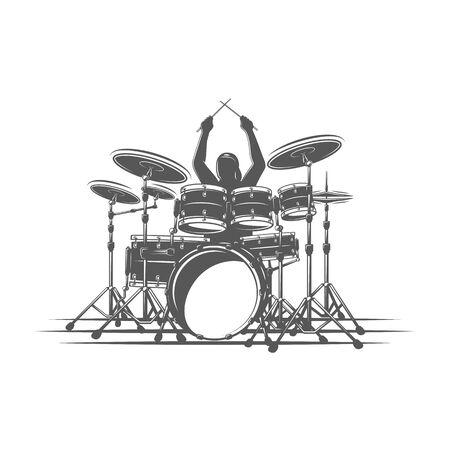 Il batterista suona strumenti a percussione. Isolato su uno sfondo bianco. Elemento di design per loghi musicali, etichette, emblemi. Illustrazione vettoriale Vettoriali