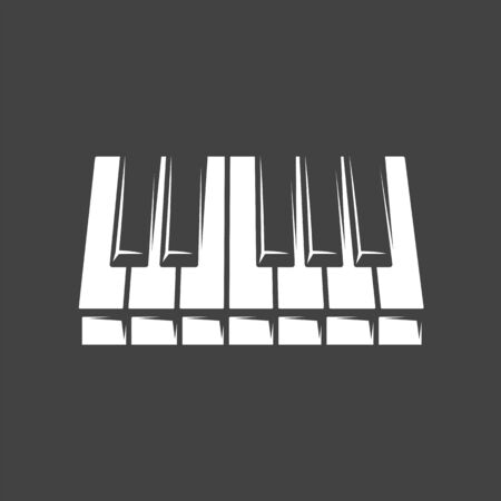 Piano keyboard isolated on black background. Design element for music logos, labels, emblems. Vector illustration