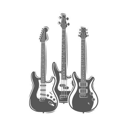 Three guitars isolated on a white background. Design element for music logos, labels, emblems. Vector illustration Ilustração
