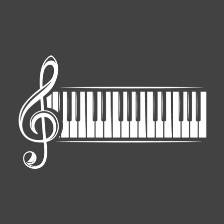 Treble clef and piano keyboard isolated on a black background. Design element for music logos, labels, emblems. Vector illustration Imagens - 138462401