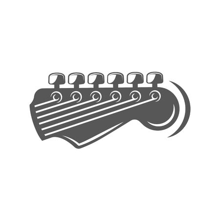 Part of the guitar isolated on a white background. Design element for music logos, labels, emblems. Vector illustration Imagens - 138462408