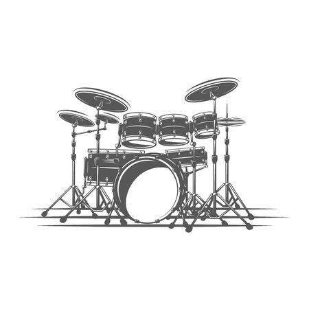 Drums isolated on a white background. Design element for music logos, labels, emblems. Vector illustration Ilustração