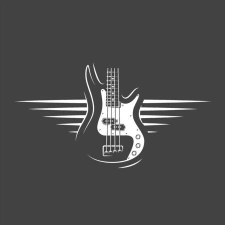 Part of the guitar isolated on a black background. Design element for music logos, labels, emblems. Vector illustration