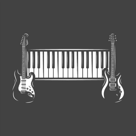 Two guitars and piano keyboard isolated on black background. Design element for music logos, labels, emblems. Vector illustration Imagens - 138462483