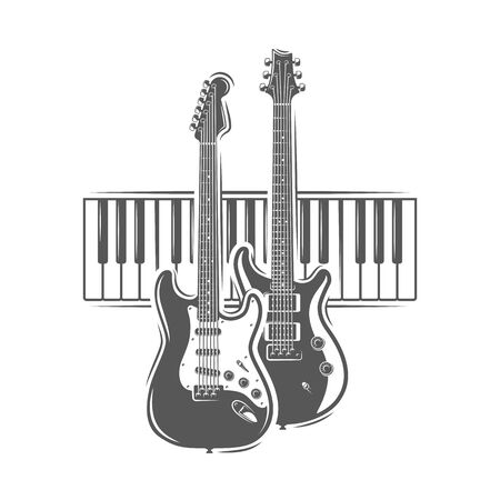 Two guitars and piano keyboard isolated on white background. Design element for music logos, labels, emblems. Vector illustration Ilustração