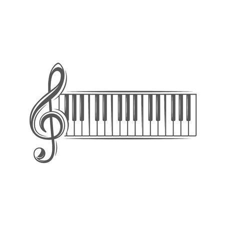 Treble clef and piano keyboard isolated on a white background. Design element for music logos, labels, emblems. Vector illustration Imagens - 138462495