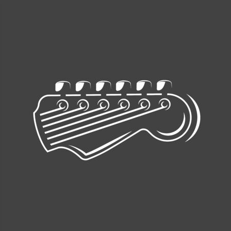 Part of the guitar isolated on a black background. Design element for music logos, labels, emblems. Vector illustration Imagens - 138462497