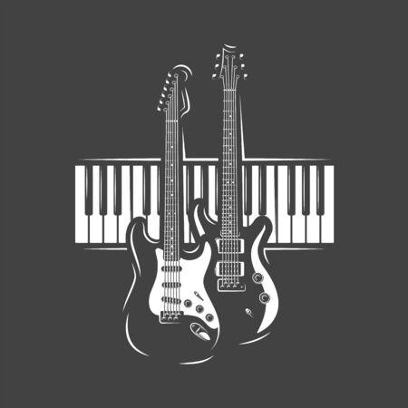 Two guitars and piano keyboard isolated on black background. Design element for music logos, labels, emblems. Vector illustration Ilustração
