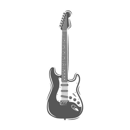 Guitar silhouette isolated on a white background. Design element for music logos, labels, emblems. Vector illustration Imagens - 138462519